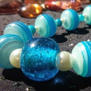 OOAK Handmade Blue White Beaded Necklace